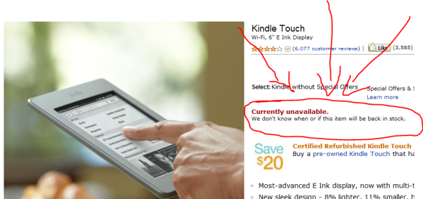 Kindle Touch Out of Stock